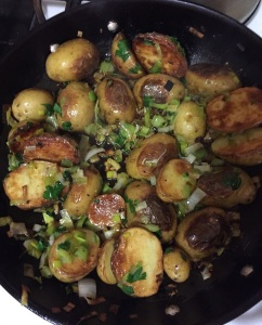 pan-fried fingerling potatoes